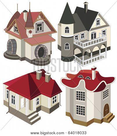 set of modern houses (vector illustration)