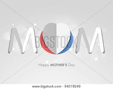 Stylish text Mom, made by heart shape folded paper on grey background, can be use as sticker, tag or label for celebrations of Happy Mothers Day.