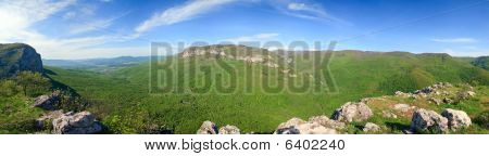 Summer Panorama View Of Kokkozka River Valley (crimea Mountain, Ukraine). Great Crimean Canyon Far L