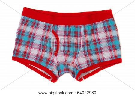 Men's Boxer Shorts In Blue And Red Checkered.