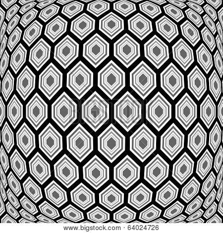 Design Monochrome Warped Hexagon Pattern