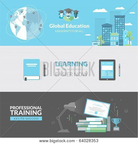 Flat design concept for education