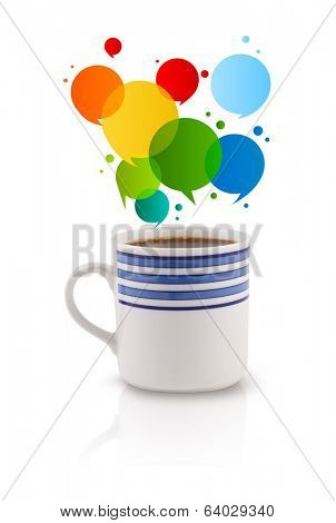 Coffee-mug with colorful abstract speech bubble, isolated on white