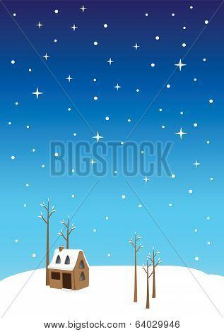 Silent Night Christmas Eve Vector Illustration