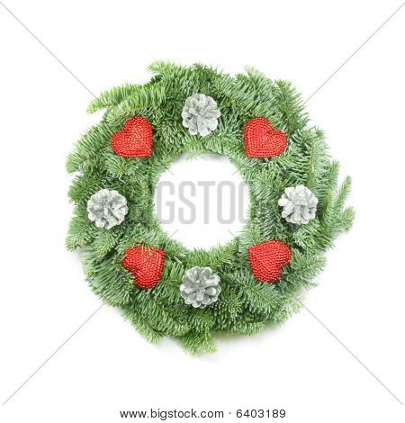 Christmas Wreath With Ornaments On White