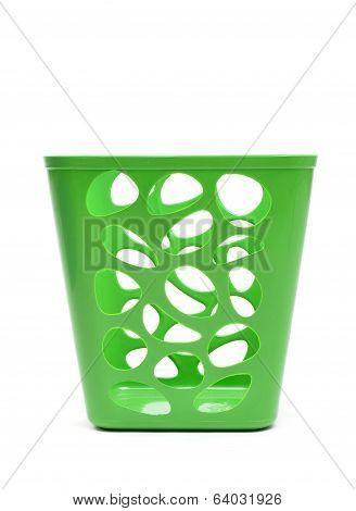 Green Plastic Basket Isolated