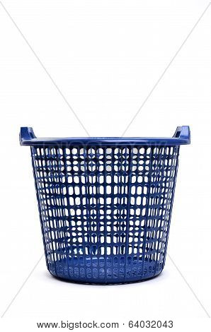 Blue Plastic Basket Isolated
