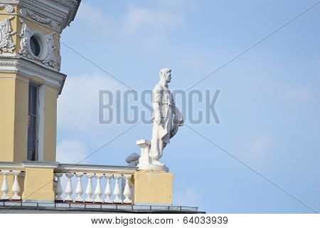 Statue Of Working On A Building In Stalin Style