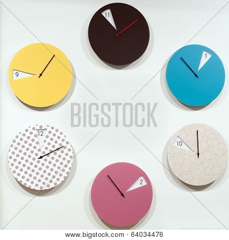 Many Round Wall Clocks That Mark The Passage Of Time