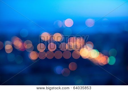 Blurring Big Abstract Circular Lights Bokeh On Blue Background
