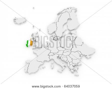 Map of Europe and Ireland. 3d