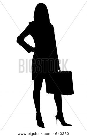 Silhouette With Clipping Path Of Business Woman With Briefcase