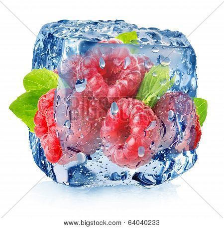 Raspberry in ice with drops
