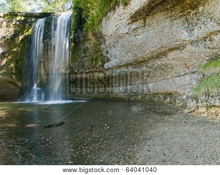 One Of The Many Waterfalls At The Herison Park (cascade Du Herison) In Jura, France