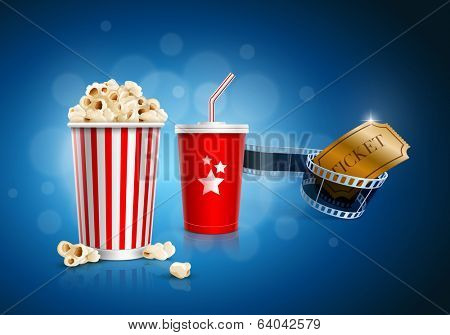 Popcorn box, disposable cup for beverages with straw, film strip and ticket. Detailed vector illustration. EPS10 file.