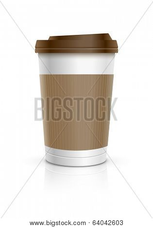 Disposable coffee cup. Vector illustration.