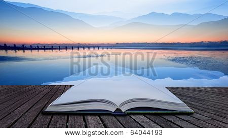 Book Concept Double Exposure Technique Effect Of Mountains And Sunrise Beach Landscape