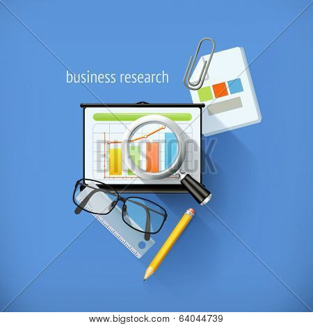 Start-up business research, analysis and solution, flat design, vector illustration