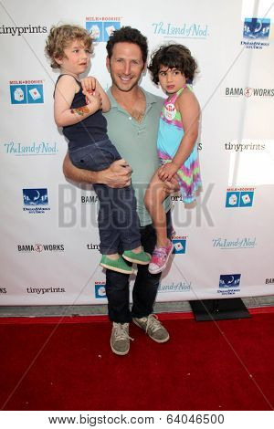 LOS ANGELES - APR 27:  Mark Feuerstein, Frisco Feuerstein, Addie Feuerstein at the Milk + Bookies Story Time Celebration at Skirball Center on April 27, 2014 in Los Angeles, CA
