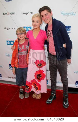 LOS ANGELES - APR 27:  Phoenix List, Peyton List, Spencer List at the Milk + Bookies Story Time Celebration at Skirball Center on April 27, 2014 in Los Angeles, CA