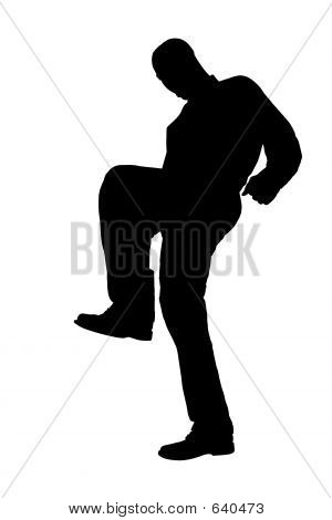 Silhouette With Clipping Path Of Man Stomping