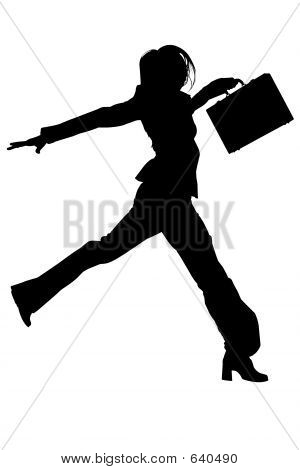 Silhouette With Clipping Path Of Woman In Suit With Briefcase Ju