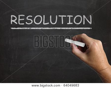 Resolution Blackboard Means Solution Settlement Or Outcome