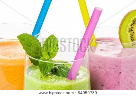 Smoothies from fruit and vegetables on a white background