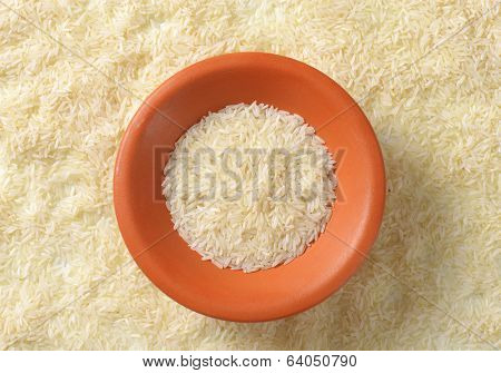 supply of rice with bowl in the middle