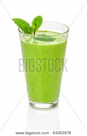 Green smoothie with mint on a white background