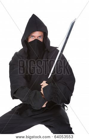 Portrait Of Male Ninja With Weapon