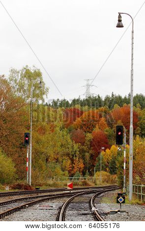Railway In The Autumn With Semaphores
