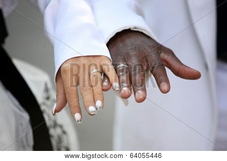 Causian And African-american Couple Holding Hand With Ring