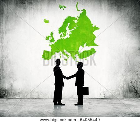 Business men shaking hand in Europe.