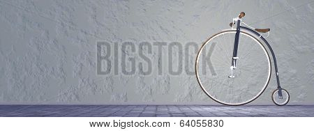Penny-farthing or high wheel bicycle - 3D render