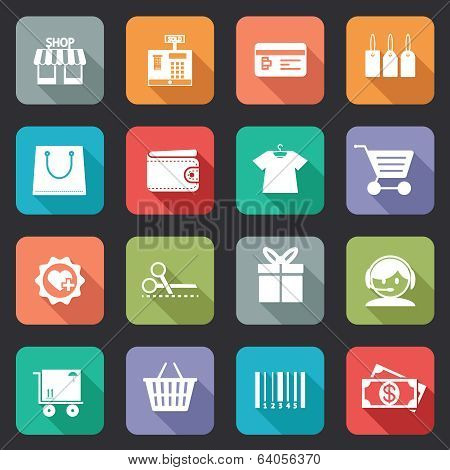 Set of colorful purchase icons in flat style