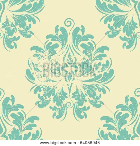 Seamless background of green color in the style of Damascus