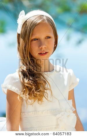 Attractive Youngster In White Communion Dress.