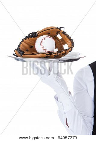 Waiter Carrying Baseball And Catcher's Mitt