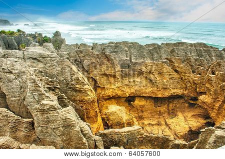 Famous pancake rock in Punakaiki, Paparoa national park, New Zealand
