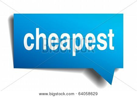 Cheapest Blue 3D Realistic Paper Speech Bubble Isolated On White
