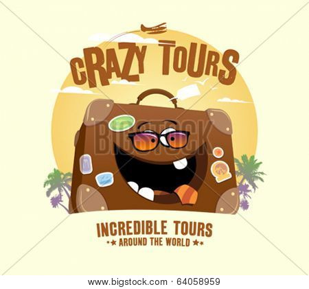 Crazy tours design with funny suitcase
