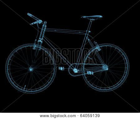 Bicycle x-ray blue transparent isolated on black