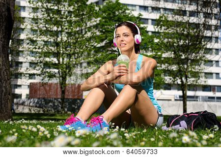 Fitness Woman Drinking Detox Smoothie After Workout
