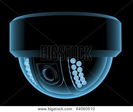 Cctv surveillance camera x-ray blue transparent isolated on black