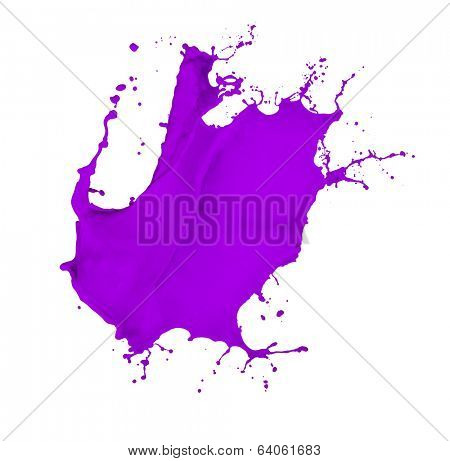violet paint splash isolated on white background