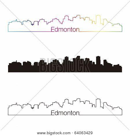 Edmonton Skyline Linear Style With Rainbow