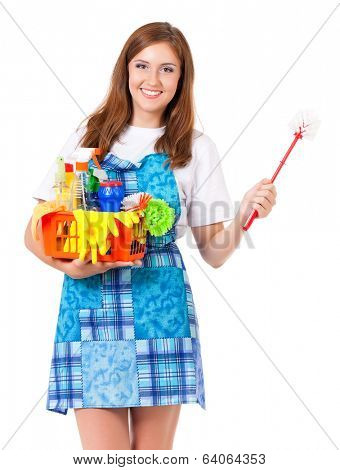 Young housewife with cleaning supplies, isolated on white background