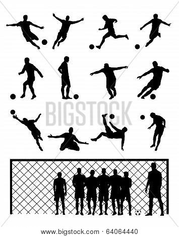 Set Of Sixteen Soccer Football Vector Illustrations