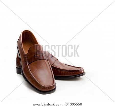 Shoes for men, brown. Isolated on white background